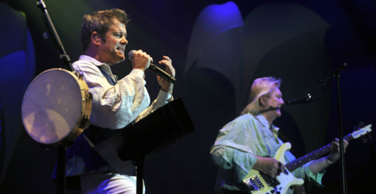 Yes' new vocalist, Benoit David, left, and bassist Chris Squire, right, onstage in the Czech Republic, 2009. AP Photo/CTK, Vladislav Galgonek
