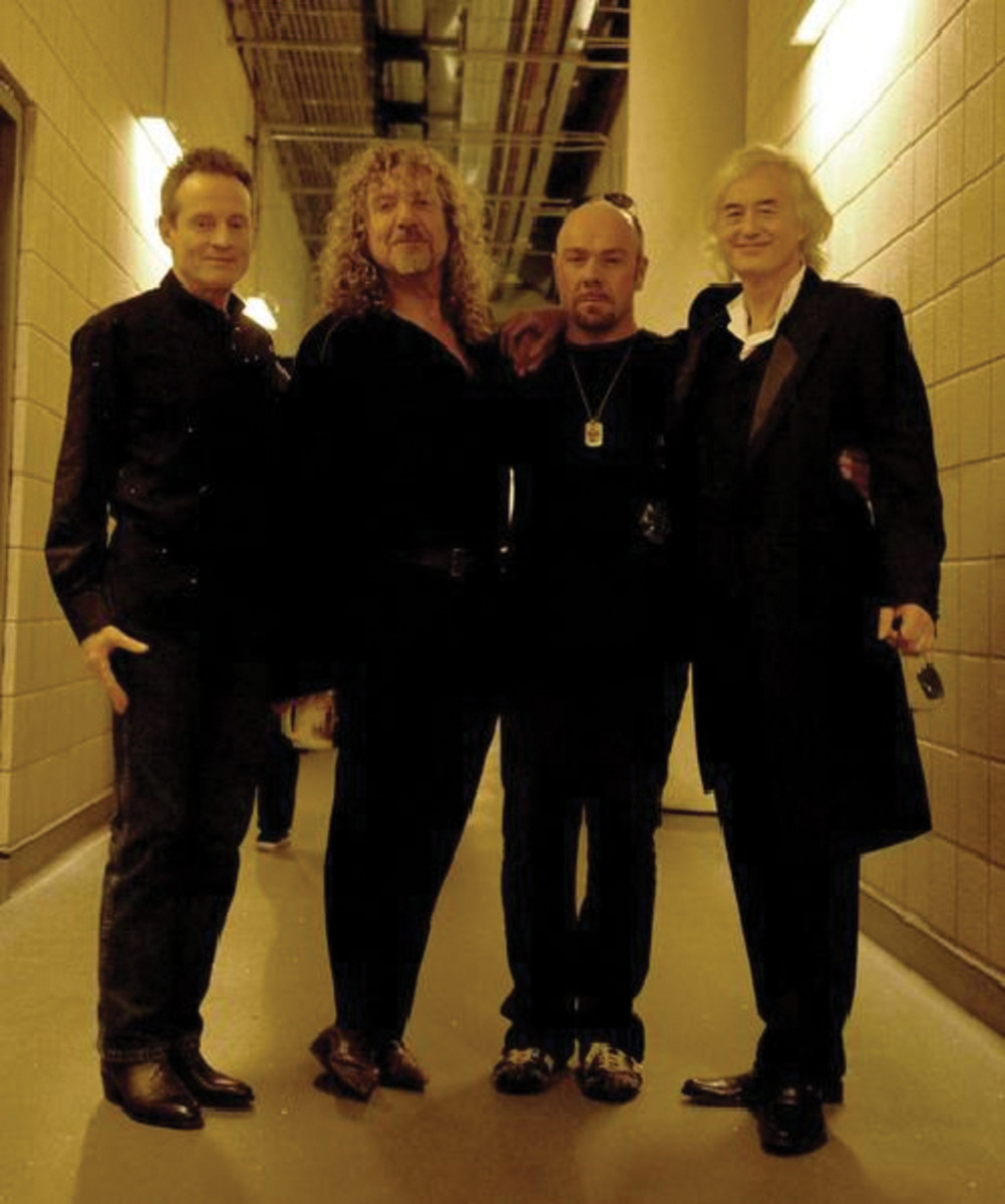JASON BONHAM (second from right) manned the drum kit with his father's Led Zeppelin bandmates (from left) John Paul Jones, Robert Plant and Jimmy Page during Led Zeppelin's O2 arena performance in December 2007. Photo courtesy Jason Bonham