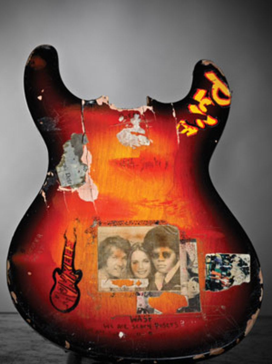 Kurt Cobain smashed his Univox Hi-Flyer guitar at the Evergreen State College, Dorm K208, in Olympia, Wash., on Oct. 30, 1988. This is the first guitar he demolished on stage. Courtesy Experience Music Project Musuem