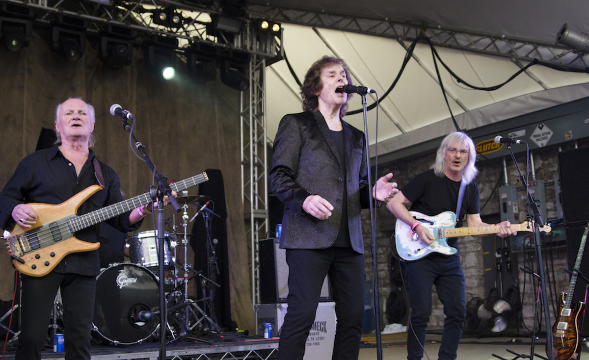 From left to right: Jim Rodford, Colin Blunstone and Tom Toomey of The Zombies in action at Stubb's. (Photo by Chris M. Junior)