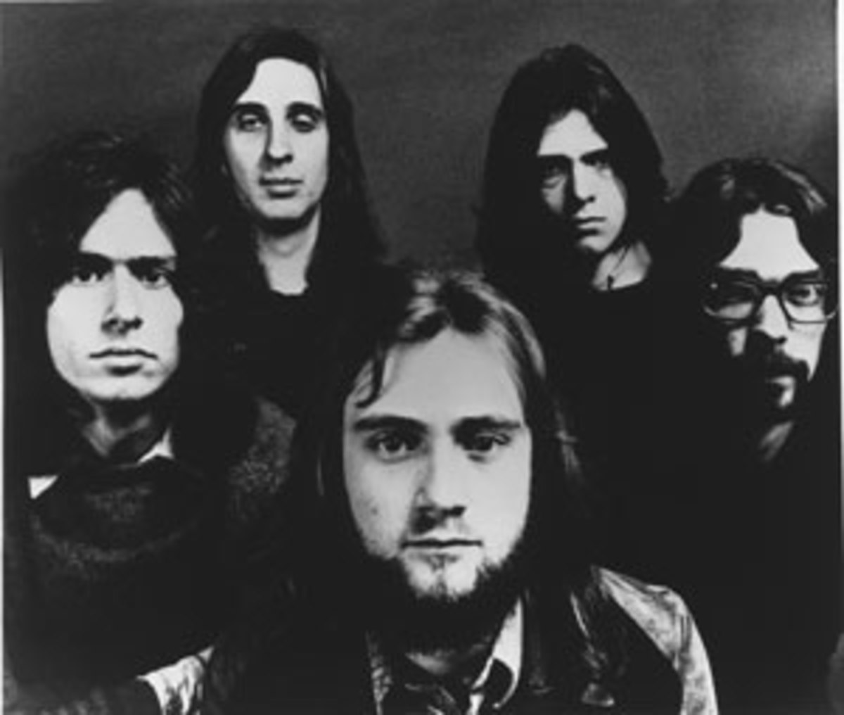 The Classic Genesis lineup (clockwise from left): Banks, Rutherford, Gabriel, Hackett and Collins. Publicity photo