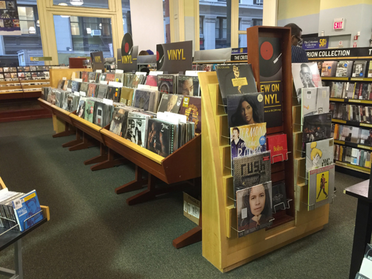 The vinyl record format dominates the music department in a Barnes & Noble store. Photo courtesy of Barnes & Noble.