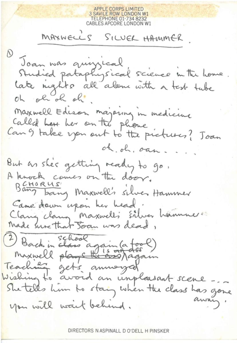 "Paul McCartney's handwritten ""Maxwell's Silver Hammer"" lyrics. Photo courtesy of Gotta Have It!"