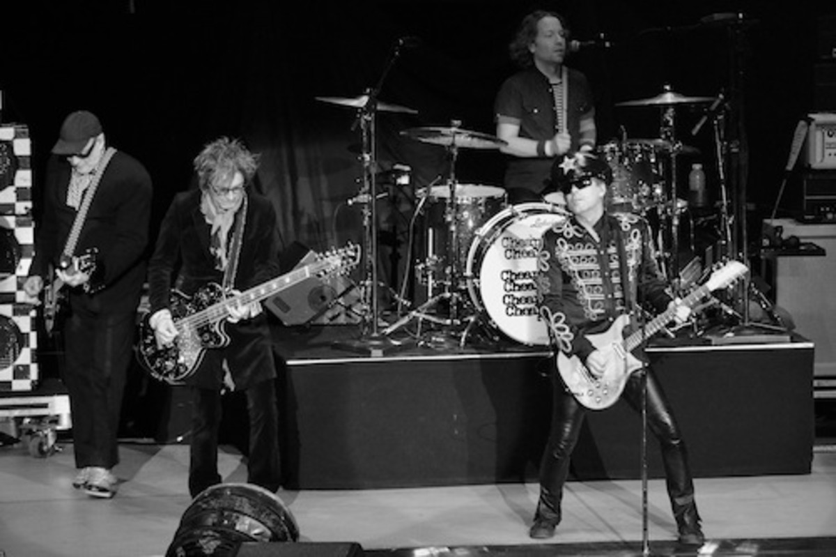 From left: Cheap Trick's Rick Nielsen, Tom Petersson, Daxx Nielsen and Robin Zander in action Nov. 23 at Revel. (Photo by Chris M. Junior)