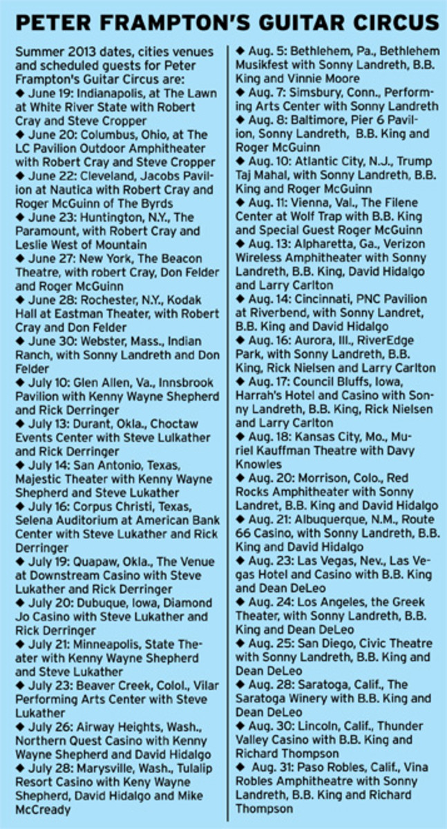 Peter Frampton Guitar Circus 2013 tour dates