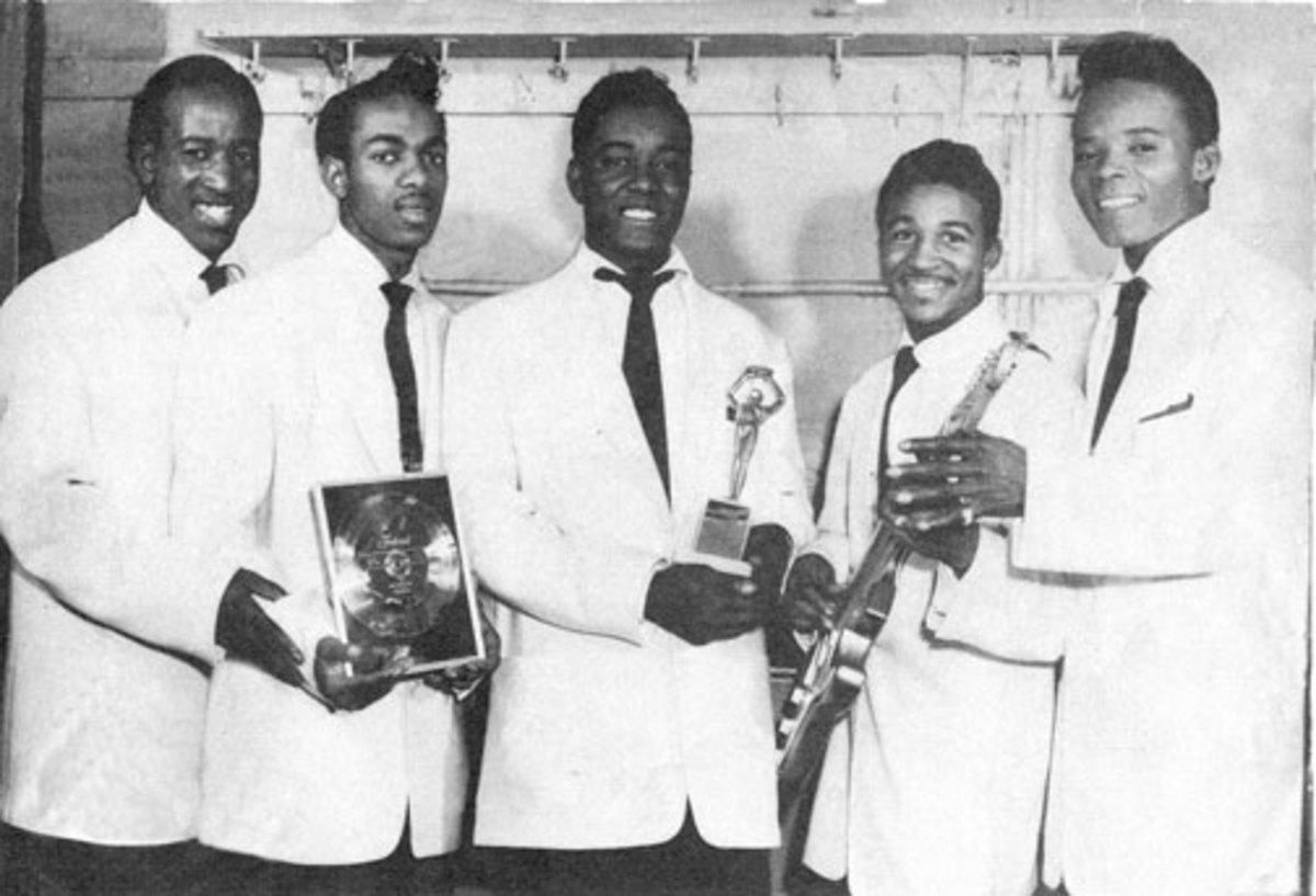 This rare photo of The Midnighters in 1955-56 shows members (from left) Henry Booth, Lawson Smith, Sonny Woods, Cal Green and Hank Ballard. Photo coutesy Rich & Eunice Tullmieri.