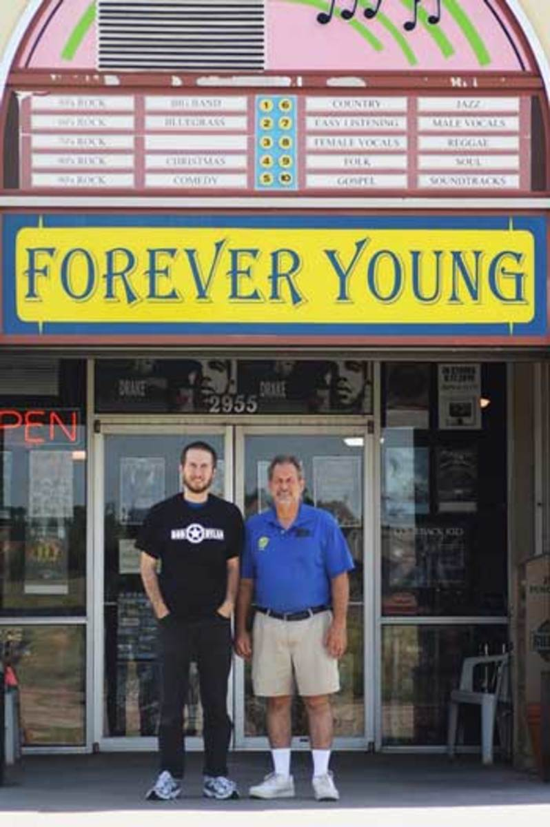 TAYLOR ECKSTROM (LEFT) AND OWNER DAVID ECKSTROM of Forever Young Records. Photo courtesy of Forever Young Records