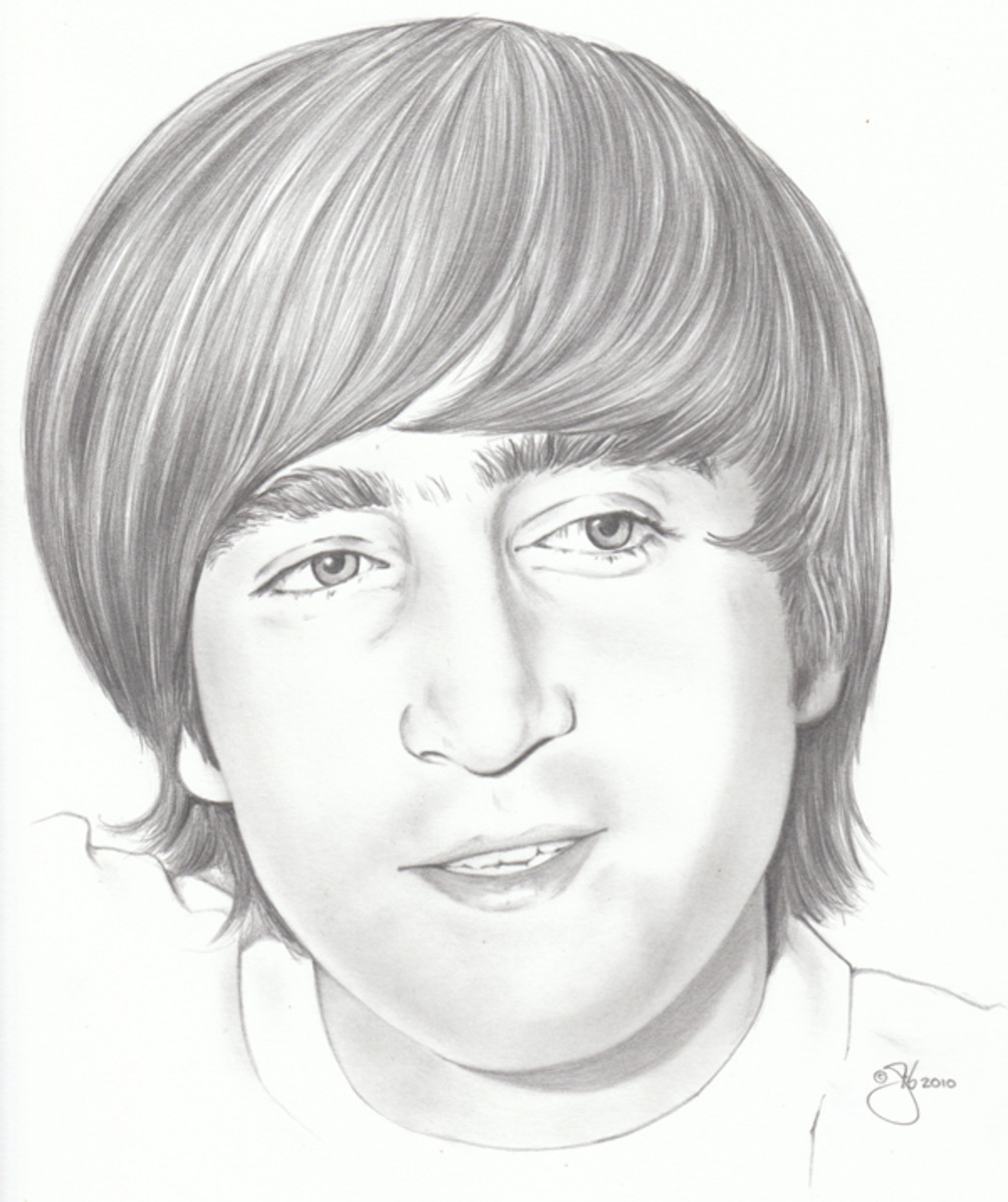 GIB ROBBIE enjoys using his natural artistic talents to portray his favorite rock and roll artists, as seen in this sketch of a young John Lennon. Courtesy of Gib Robbie