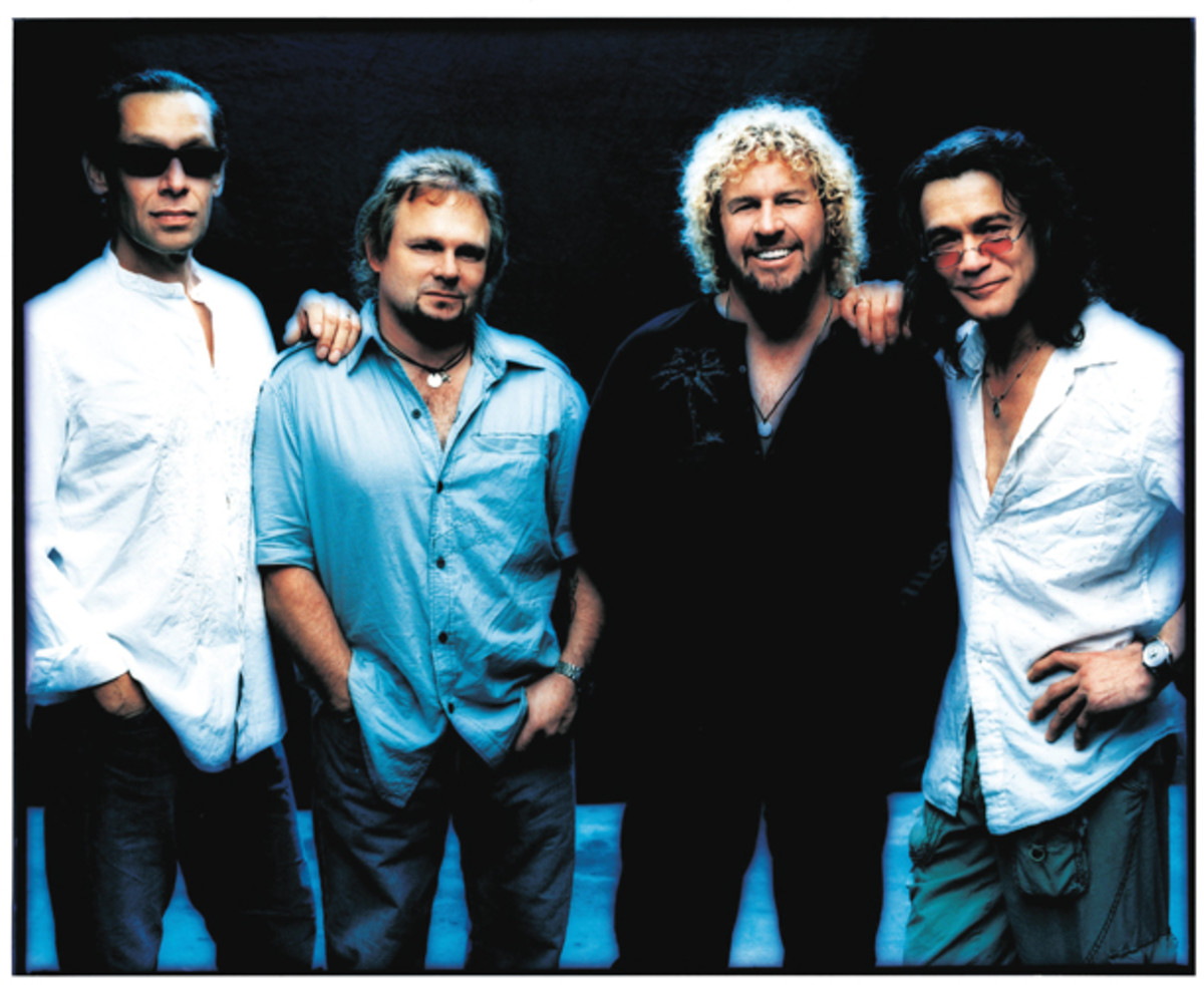 After David Lee Roth departed from Van Halen, Sammy Hagar took over lead vocalist duties with the band. However, Hagar and and bassist Michael Anthony (second from left) later parted ways with the brothers Van Halen and teamed up for Chickenfoot. Publicity photo courtesy Rhino/Kevin Westenburg.