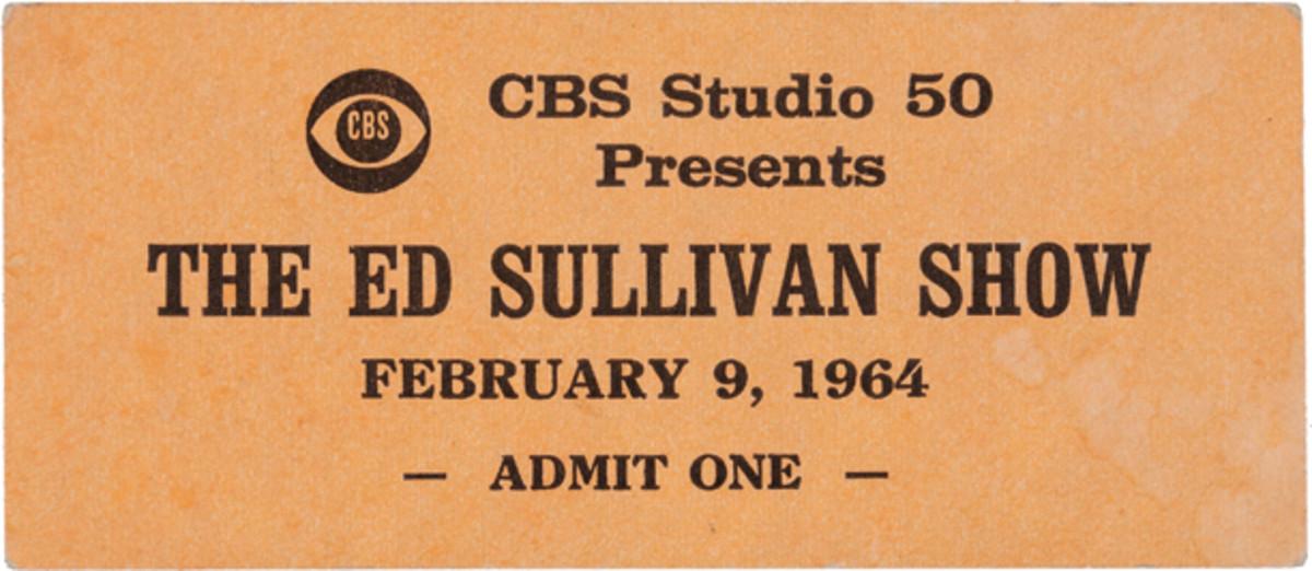 Beatles Ed Sullivan Show unused ticket Feb. 9, 1964