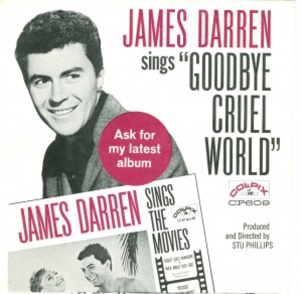 James Darren Goodbye Cruel World picture sleeve