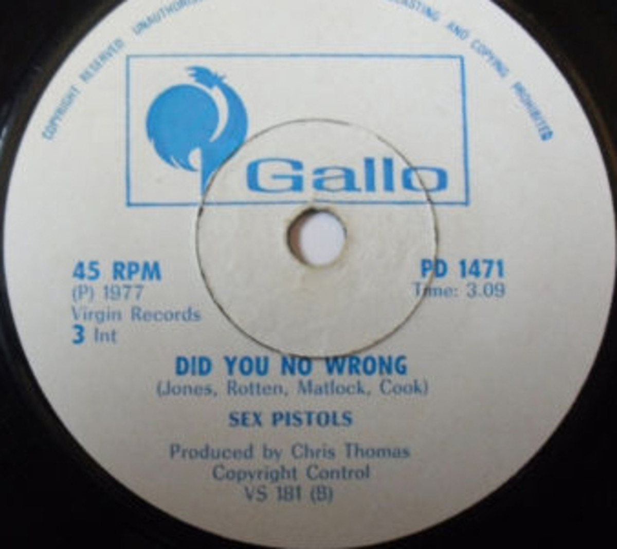 The Sex Pistols Did You No Wrong Gallo PD-1471