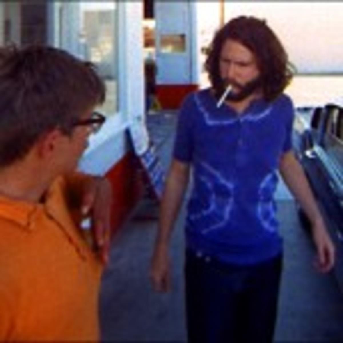 """Doors singer Jim Morrison (right) in a scene shot for the film """"HWY."""""""