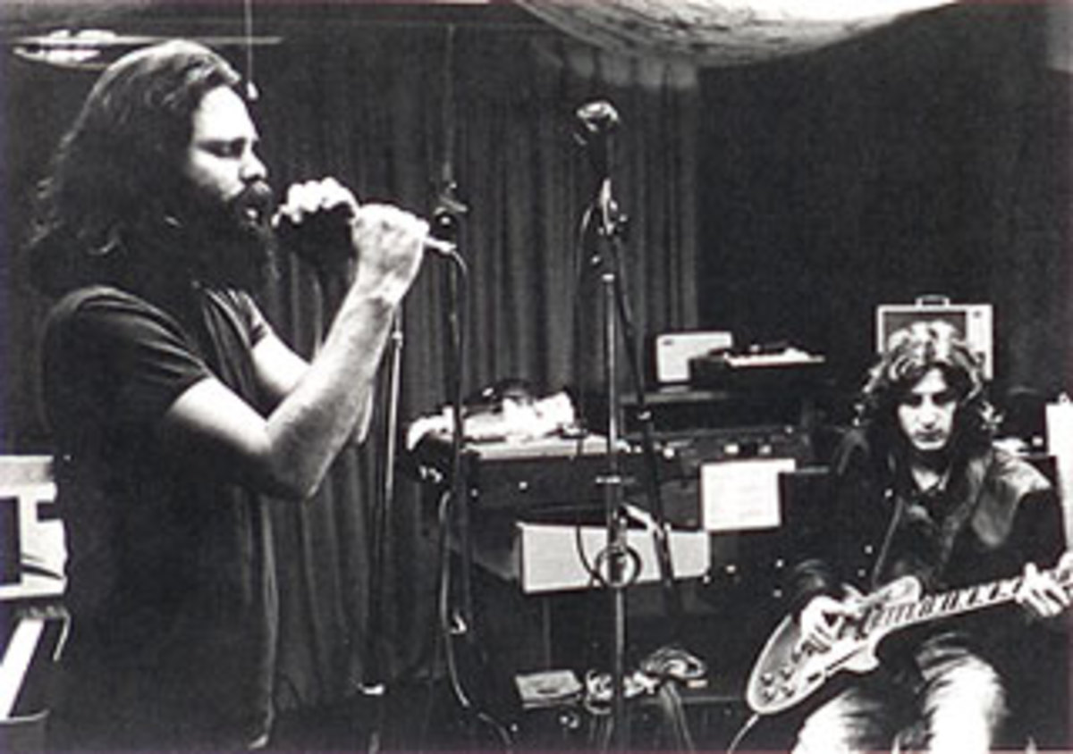 "In the studio for ""L.A. Woman"" (left to right): Jim Morrison and Marc Benno — courtesy of Marc Benno."