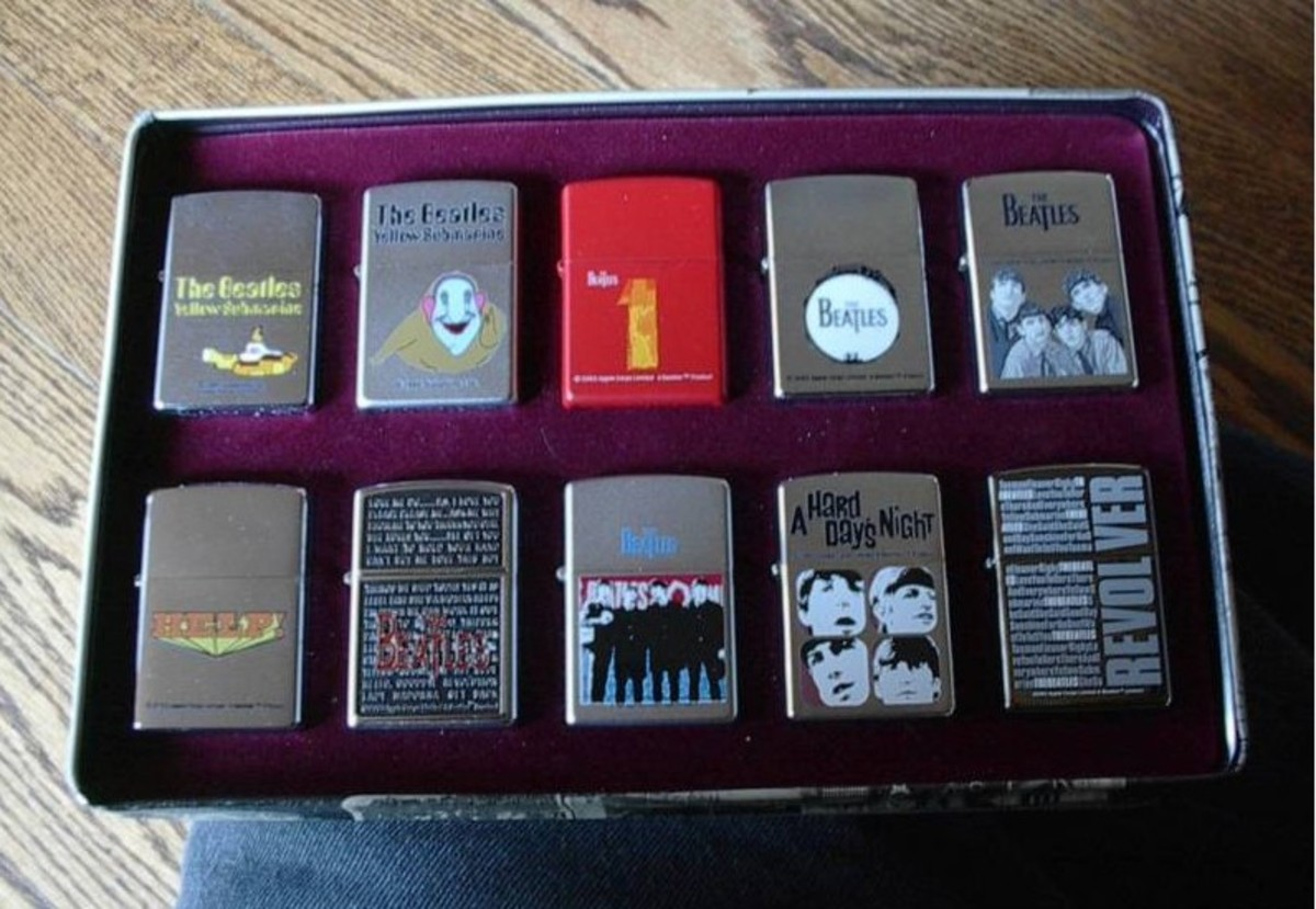 A set of Beatles-themed Zippo lighters are among the collectibles catching collectors' fancies at online auctions. Photo courtesy of eBay