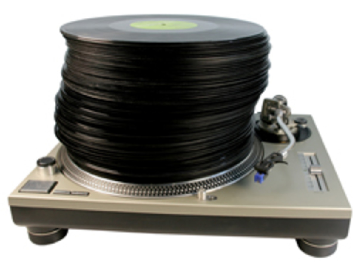 stack of records on turntable