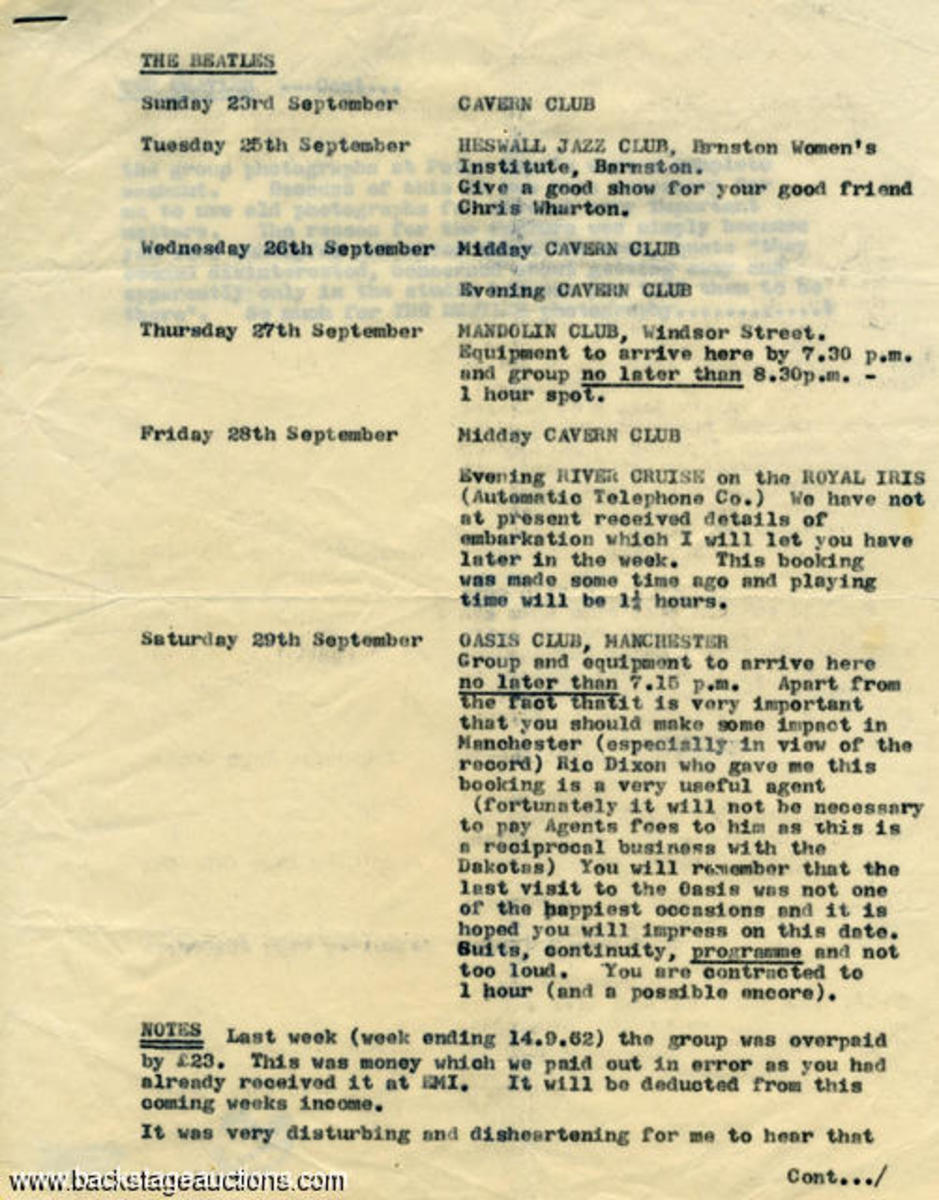 Beatles September 1962 itinerary