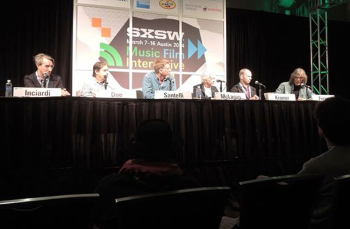 John Doe (second from left), Ian McLagan (third from right) and Wayne Kramer (second from right) talk about The Rolling Stones at South by Southwest. (Photo by Chris M. Junior)