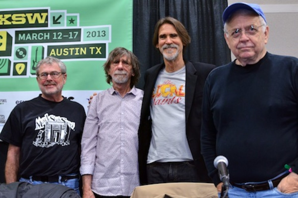 "From left: David Hood, Spooner Oldham, Will McFarlane and Jimmy Johnson following the ""Muscle Shoals Sound"" panel. (Photo by Chris M. Junior)"
