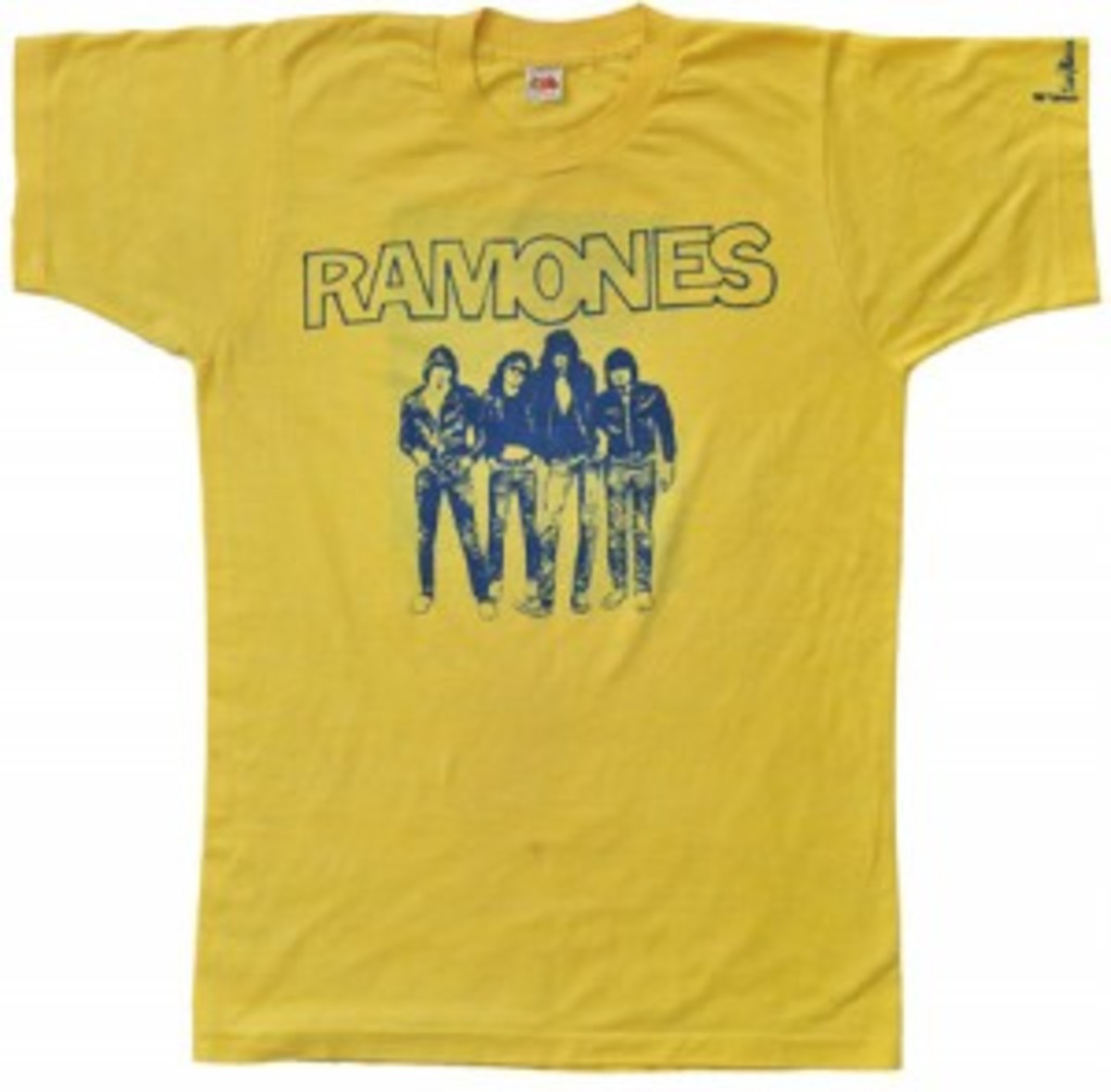 """Ramones"""" t-shirt, owned and worn by Dee Dee Ramone in 1976. Accompanied by a photograph of Dee Dee Ramone wearing an identical t-shirt. Dee Dee is also seen wearing an identical t-shirt in the documentary """"Johnny Ramone: Too Tough To Die"""", 1996."""