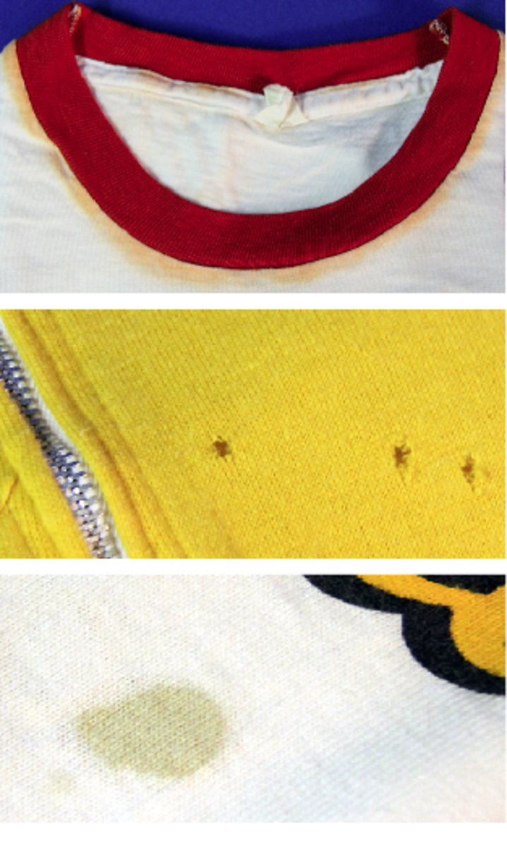 color bleed holes and stains on t-shirt