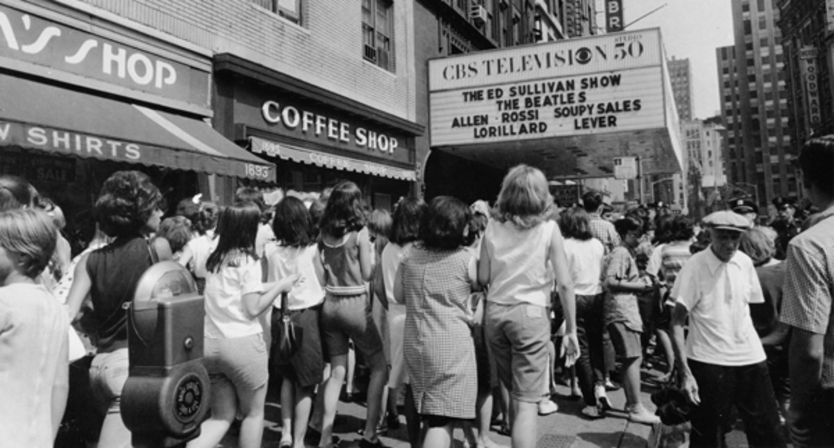 FANS LINE UP outside the Ed Sullivan Theater in 1964. Photo courtesy Universal Music Group/Copyright CBS Photography 1964