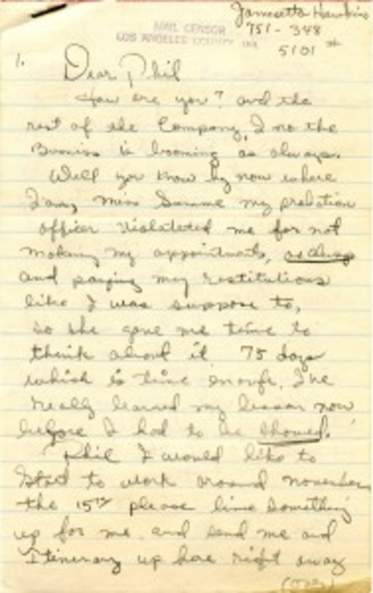 """A 200 word 5"""" by 8"""" letter, handwritten in pencil, was composed while Etta James was in the Los Angeles County Jail (the Sybil Brand Institute). Courtesy of Backstage Auctions."""