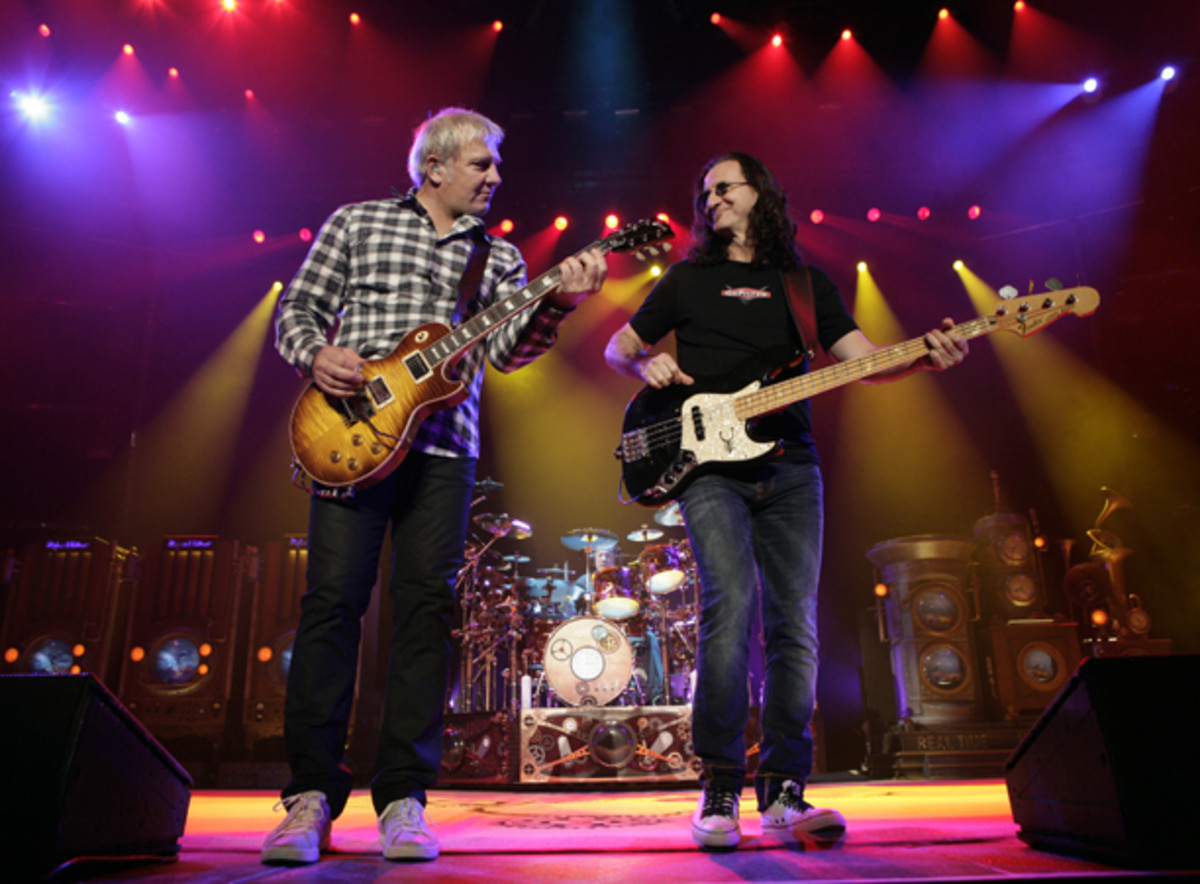 Rush Alex Lifeson Neil Peart Geddy Lee onstage