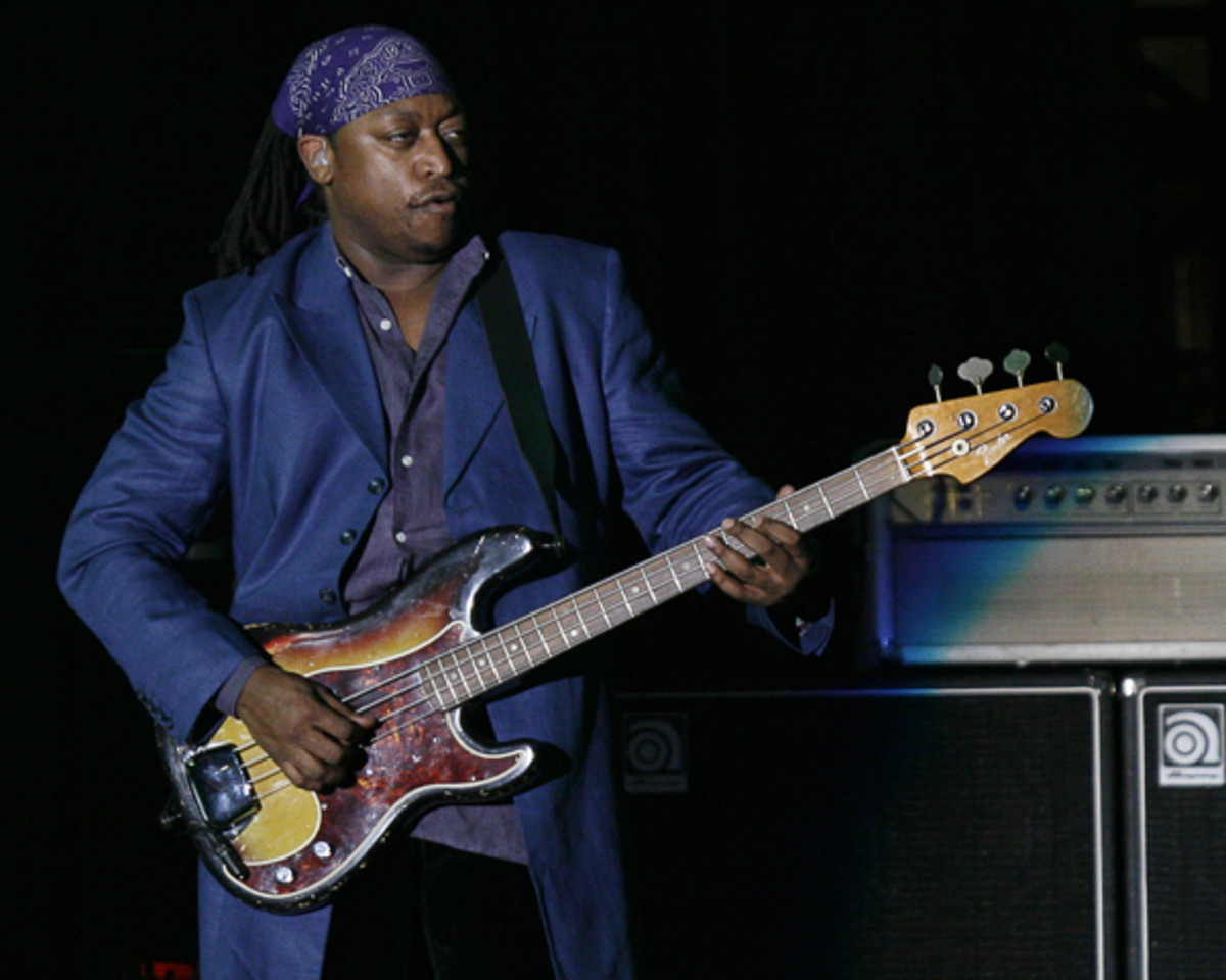 Darryl Jones is only the third bass guitar player in the 50-year history of The Rolling Stones. AP photo/Robert E. Klein.