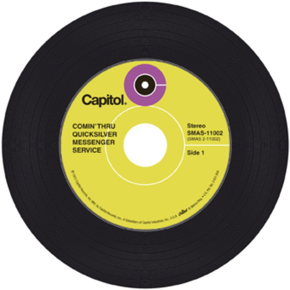 """A CD vinyl replica of the QMS album """"Comin' Thru"""""""
