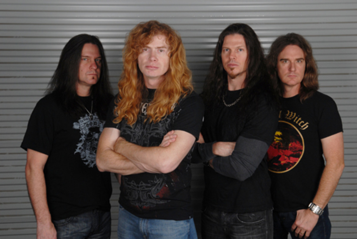 Megadeth 2010 (left to right): Shawn Drover (drums), Dave Mustaine (guitar, vocals), Chris Broderick (guitar), and David Ellefson (bass). Photo by Stephanie Cabral