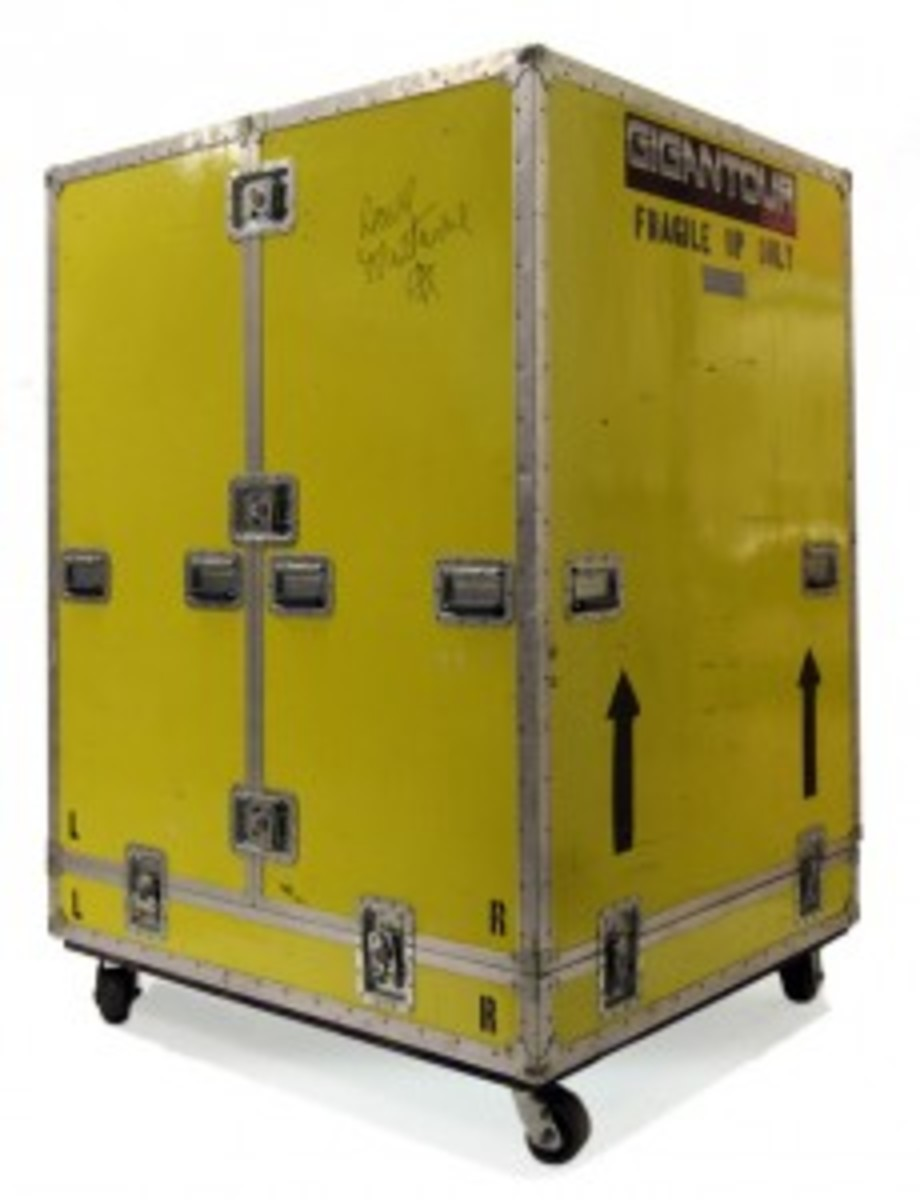 Backstage Auctions points out that road cases are sometimes turned into coffee tables, storage bins and even cabinets and book cases. The one above is from the Gigantour tour. Photo courtesy of Backstage Auctions.