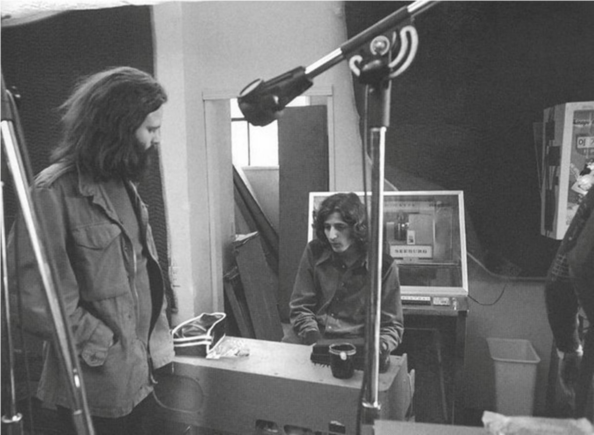 Jim Morrison and Mark Benno in the studio for The Doors LA Woman