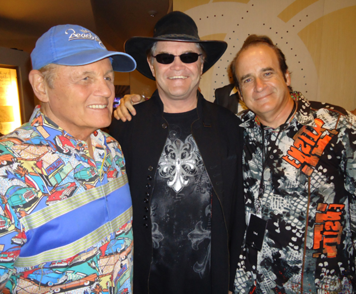 As president of Friday Music, Joe Reagoso (right) regularly rubs elbows with rock stars, including (from left) The Beach Boys' Bruce Johnston and The Monkees' Micky Dolenz. Joe Reagoso photo.