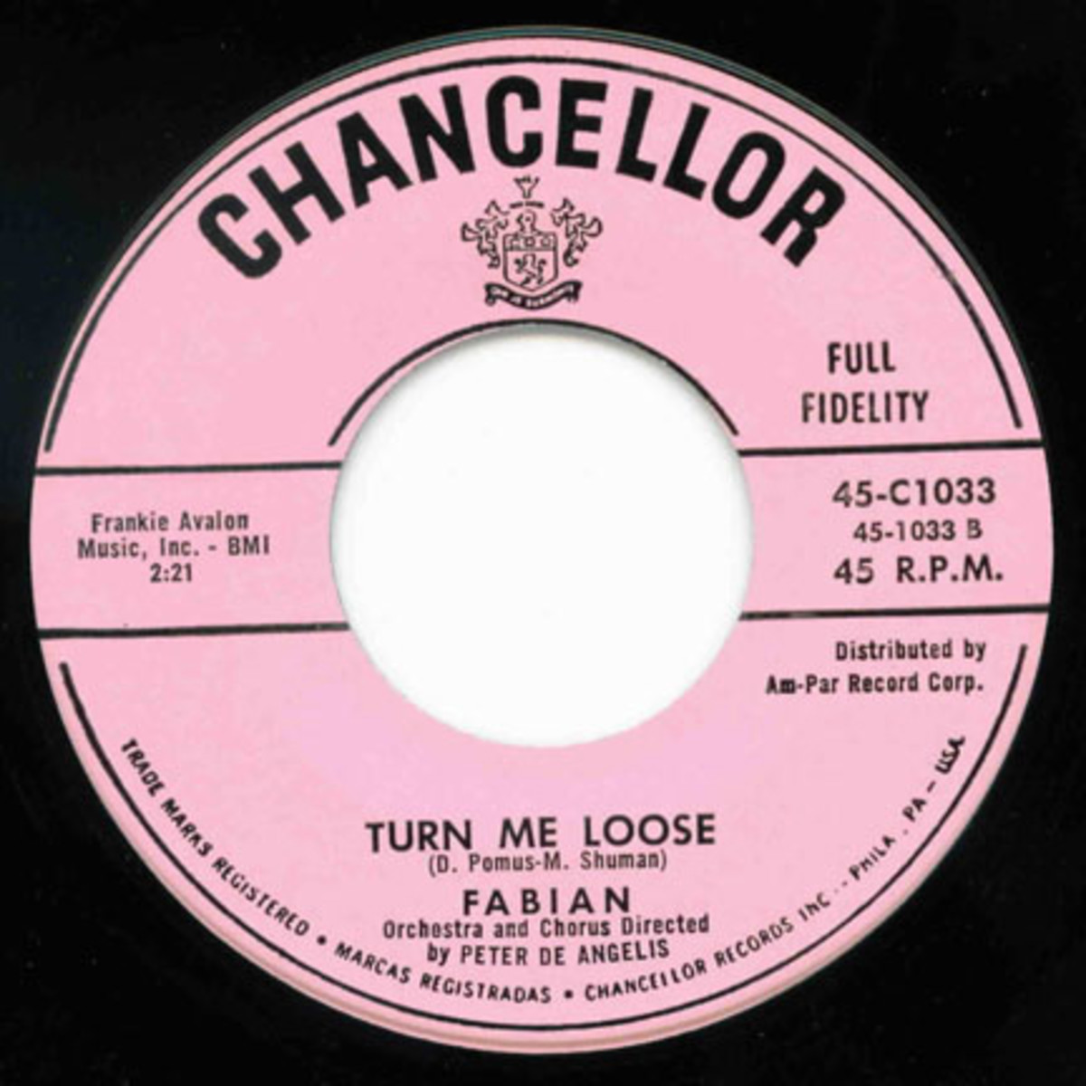 Fabian Turn Me Loose 45 on Chancellor Records