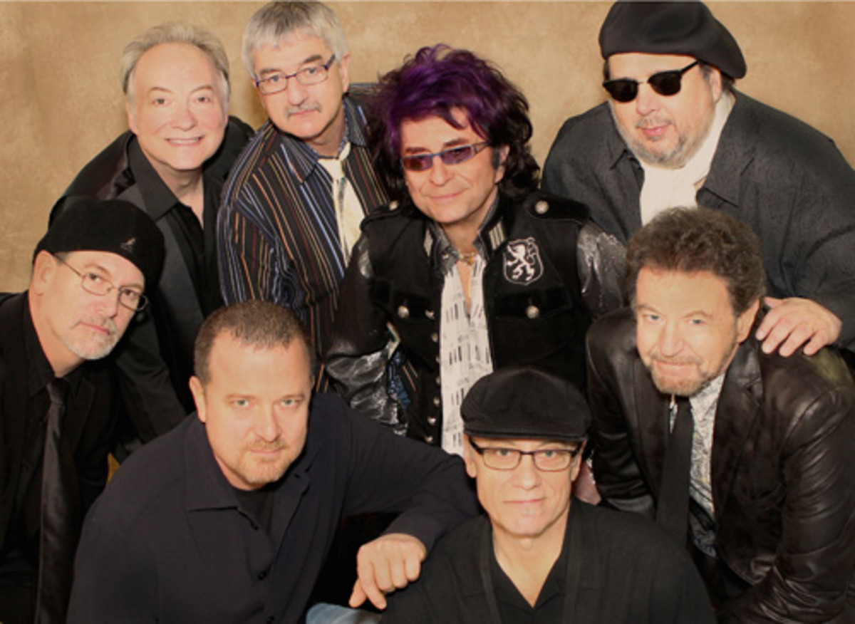 The Ides of March, top row, L to R: Larry Millas, Bob Bergland, Jim Peterik, Scott May; Bottom row, L to R: Tim Bales, Dave Stahlberg, Steve Eisen, Mike Borch.