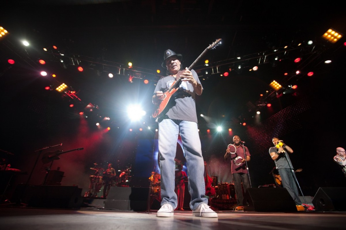 Carlos Santana plays a sold out show at the site of the 1969 Woodstock festival at Bethel Woods Center for the Arts. Photo courtesy of Michael Bloom for Bethel Woods.