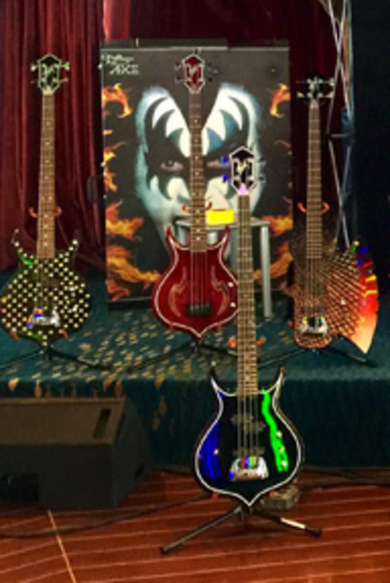 Pet an ax? Gene Simmons' AXE Bass display beckons. Photo by Christina Vitagliano.
