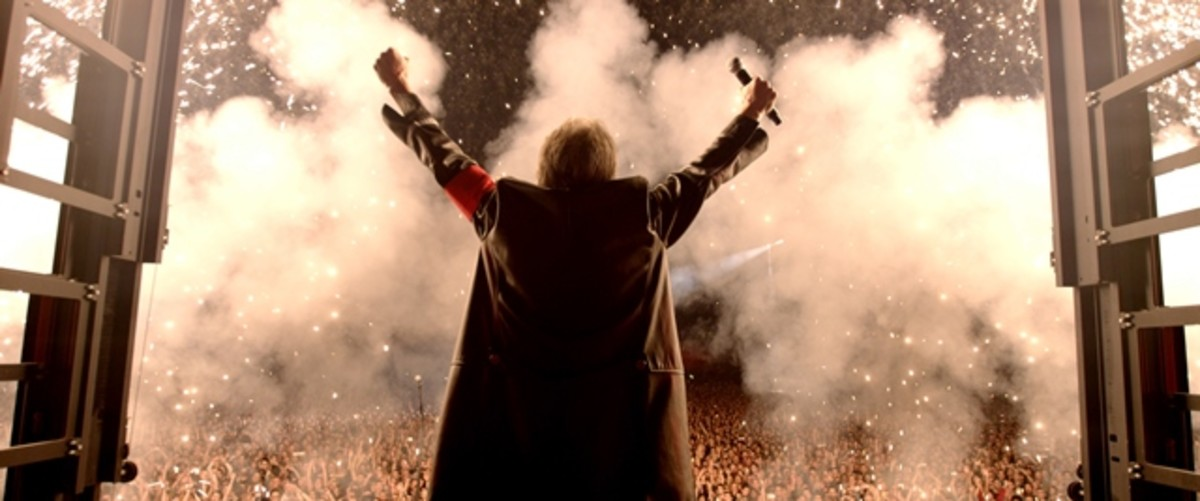 Roger Waters is shown in the concert portion of the film Roger Waters The Wall.