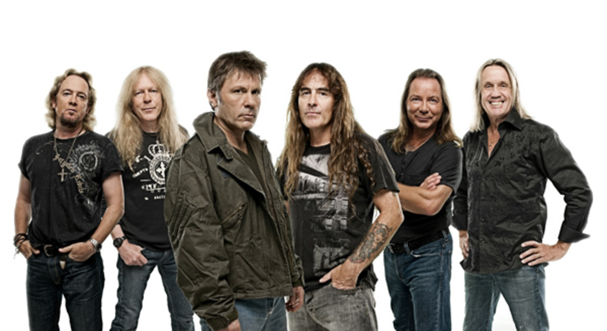 Iron Maiden (L to R) Adrian Smith, Janick Gers, Bruce Dickinson, Steve Harris, Dave Murray and Nico McBrain. Photo by John McMurtrie