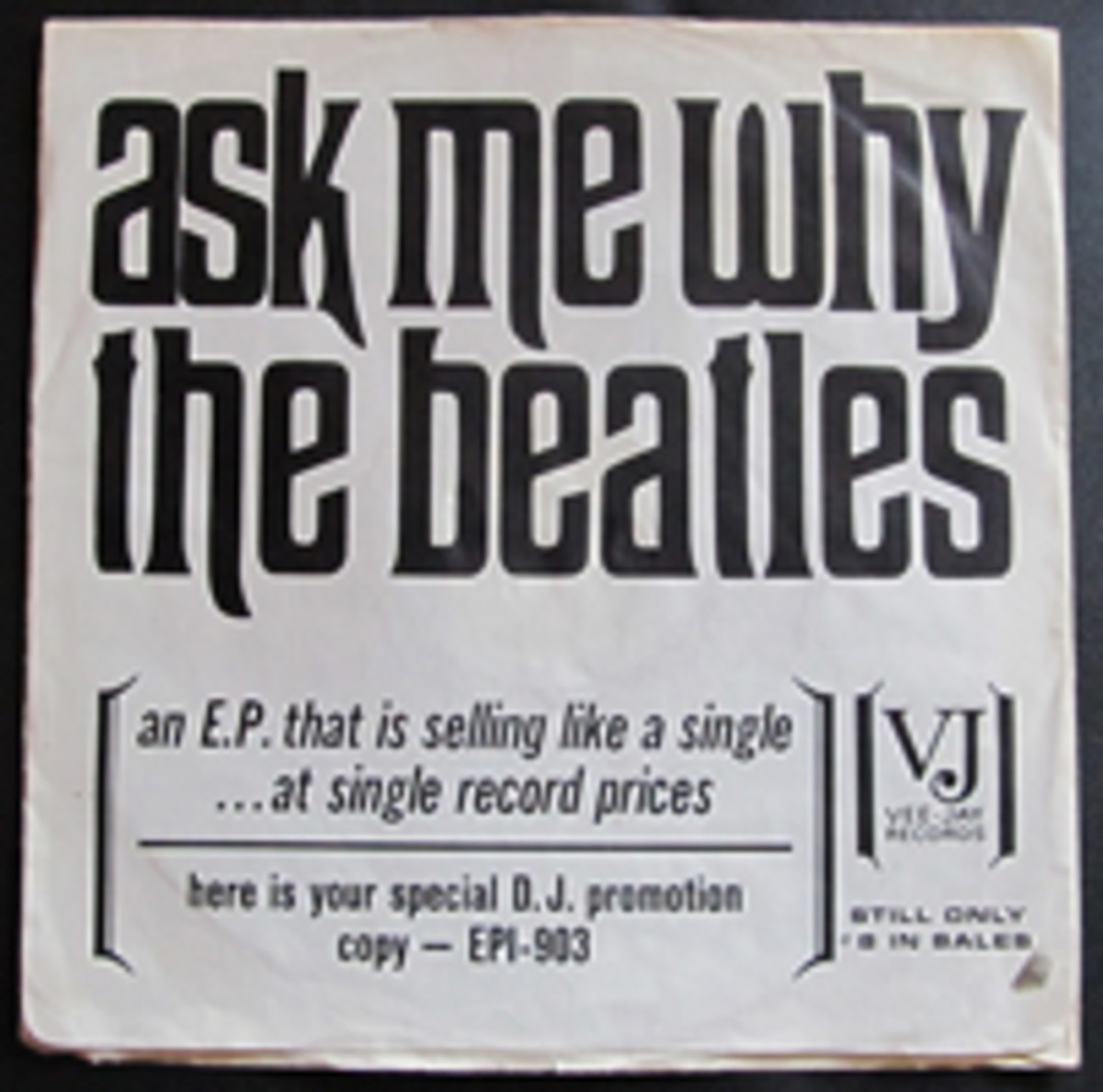 The Beatles Ask Me Why Promo Sleeve