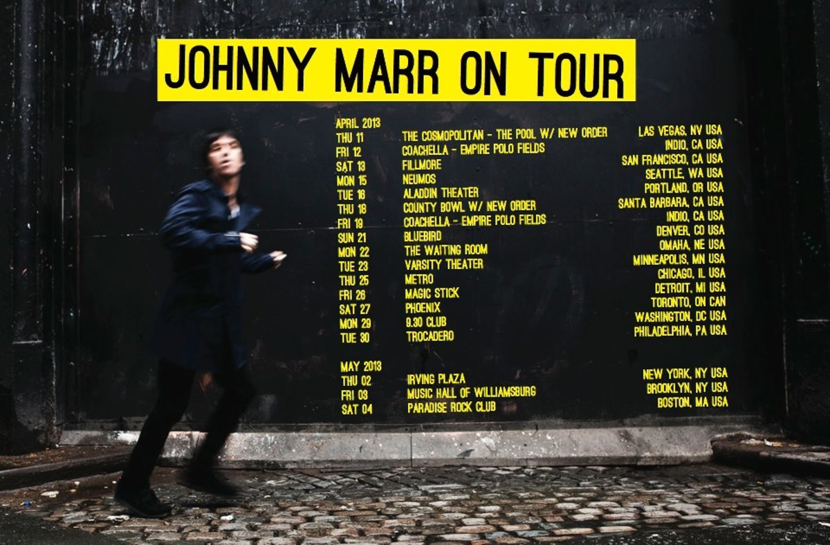 Johnny Marr will be touring the United States in April and early May in support of his new album, The Messenger.
