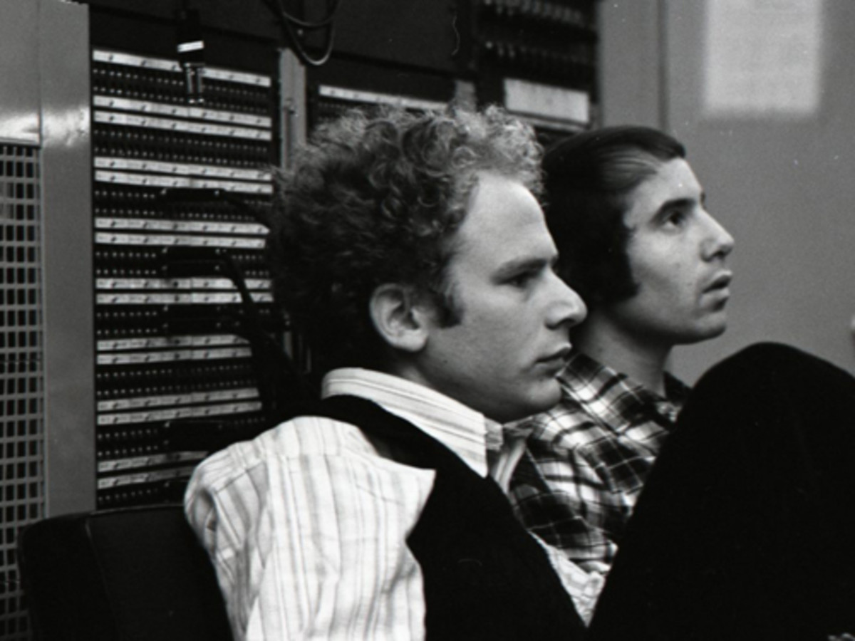 Art Garfunkel in the studio with Paul Simon. Photo by Don Hunstein/courtesy of Sony Music Archives