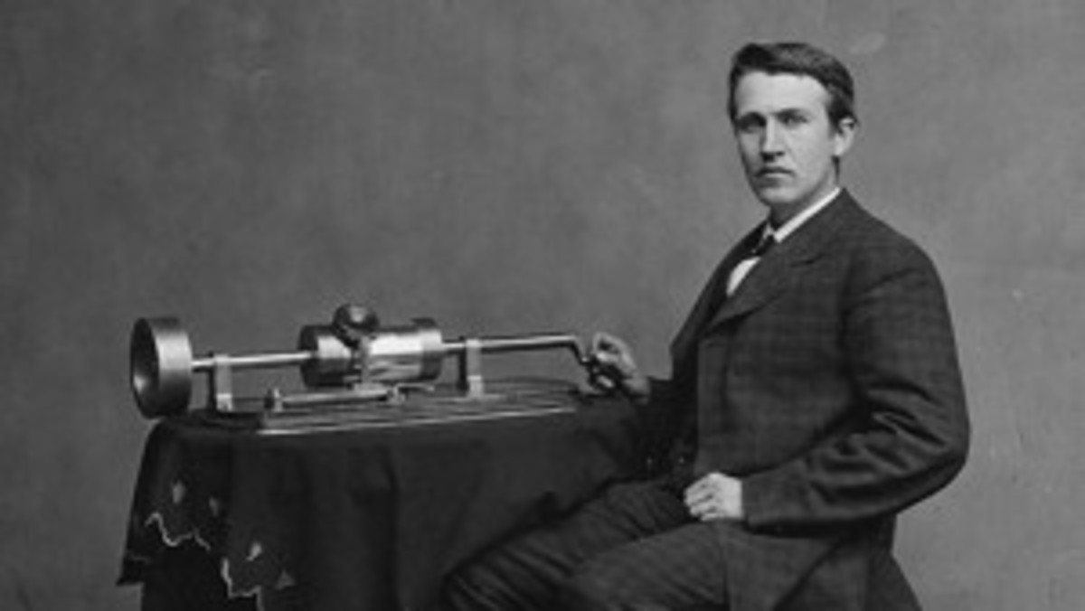 Thomas Edison with his phonograph, in this photograph taken by Matthew Brady in 1877