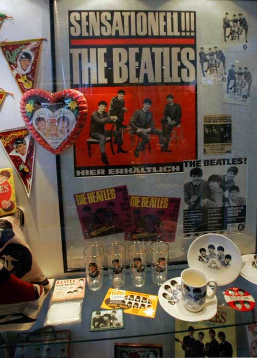Beatles collectibles are among the items on display at the BEATLEMANIA Hamburg museum in Hamburg, Germany. Photo courtesy of BEATLEMANIA Hamburg