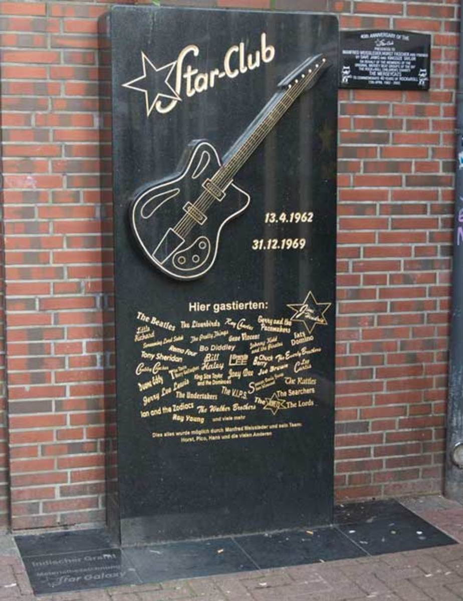 This marker acknowledges the site of the original Star-Club in Hamburg, Germany. The Beatles performed three separate residencies at the venue in 1962. Photo by Chris M. Junior