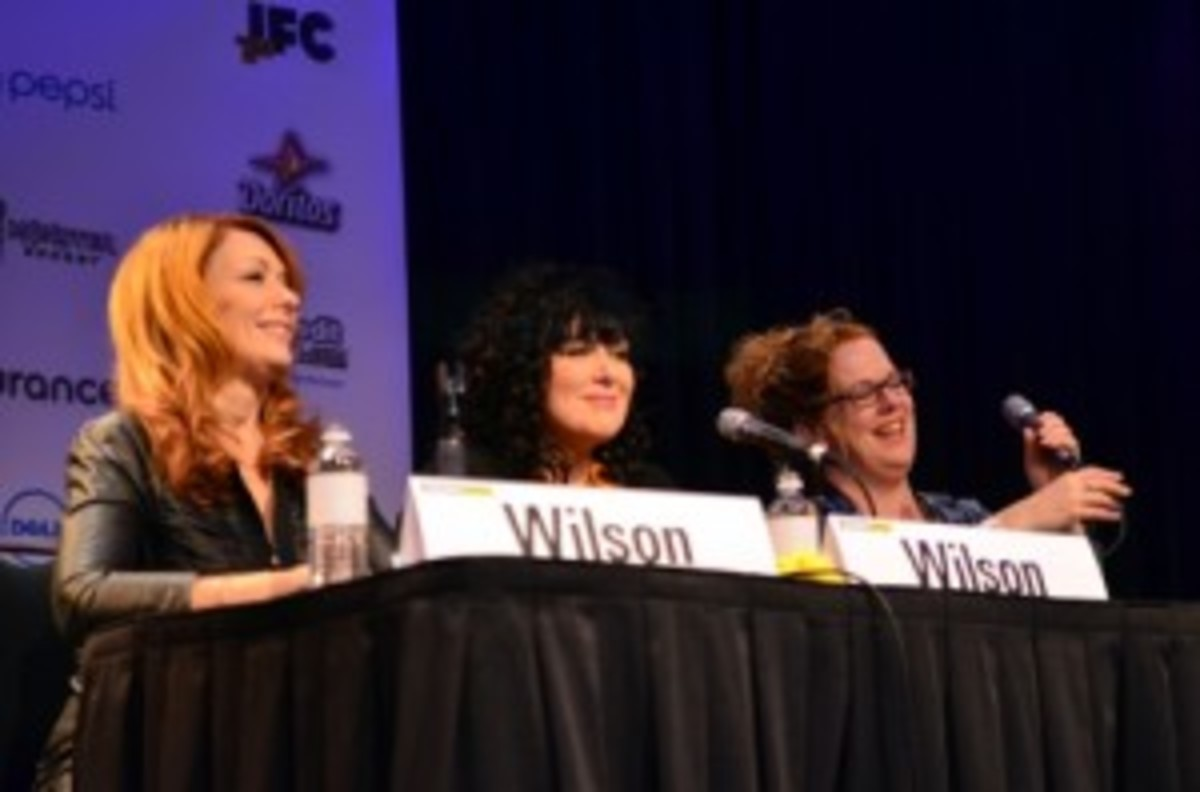From left to right: Nancy Wilson, Ann Wilson and Ann Powers talk about Heart's career Thursday afternoon during South by Southwest. (Photo by Chris M. Junior)
