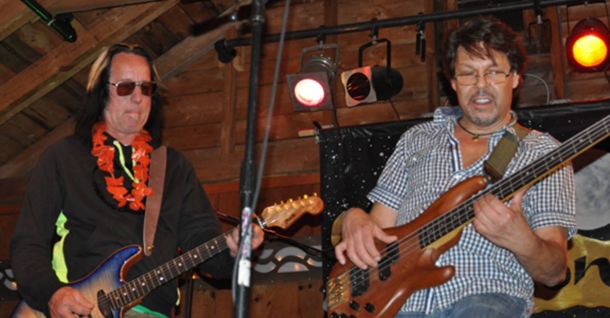 Todd Rundgren james with Kasim Sulton at Todd Rundgren's Musical Revival camp held July 2012 in Big Indian, N.Y. Alisa Cherry photo.