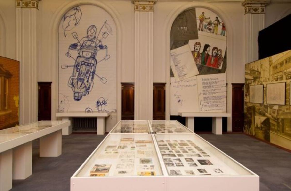 Some of Paul Weller's teenage artwork is shown in enlarged form at the Liverpool exhibition. (Photo by Dean Fardell for Nicetime Productions)