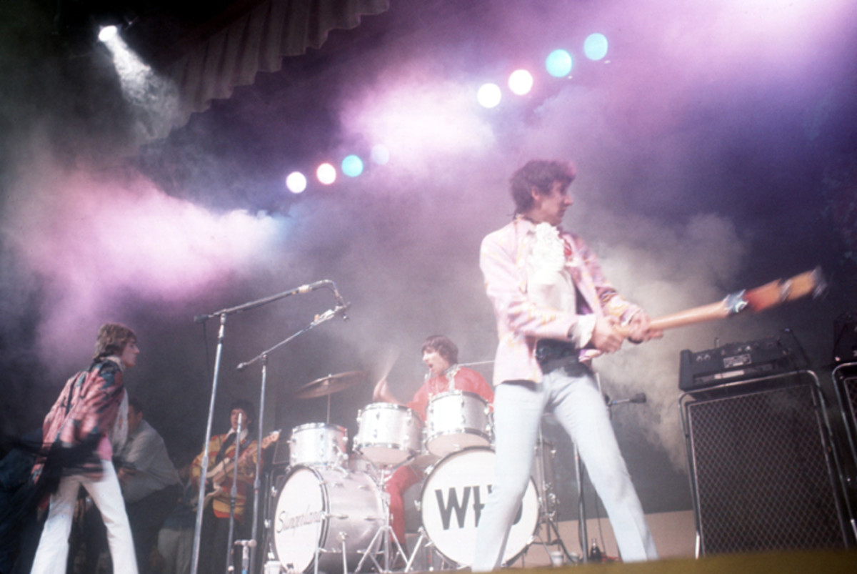 Singer Roger Daltrey, bassist John Entwistle, guitarist Pete Townshend and drummer Keith Moon of The Who perform on stage at the Monterey Pop Festival on June 18, 1967 in Monterey, California. Photo by Paul Ryan/Michael Ochs Archives/Getty Images.